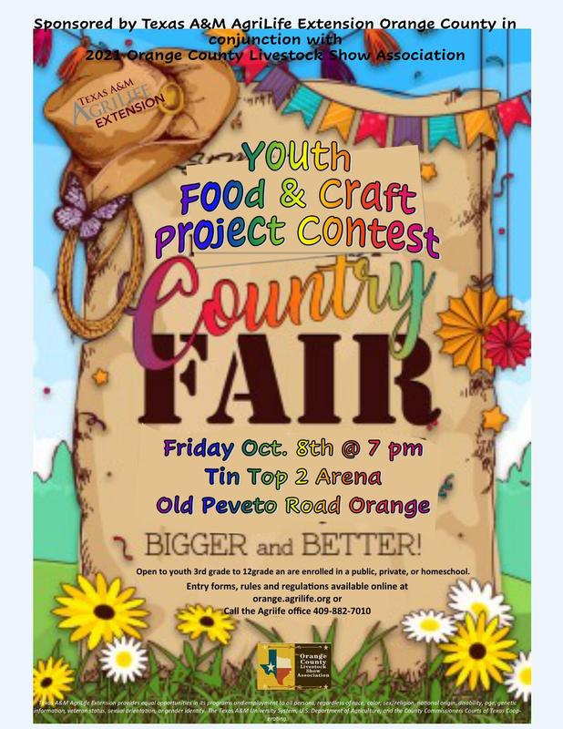 Upcoming County Fair Youth Food & Craft Project On 10/8/2021