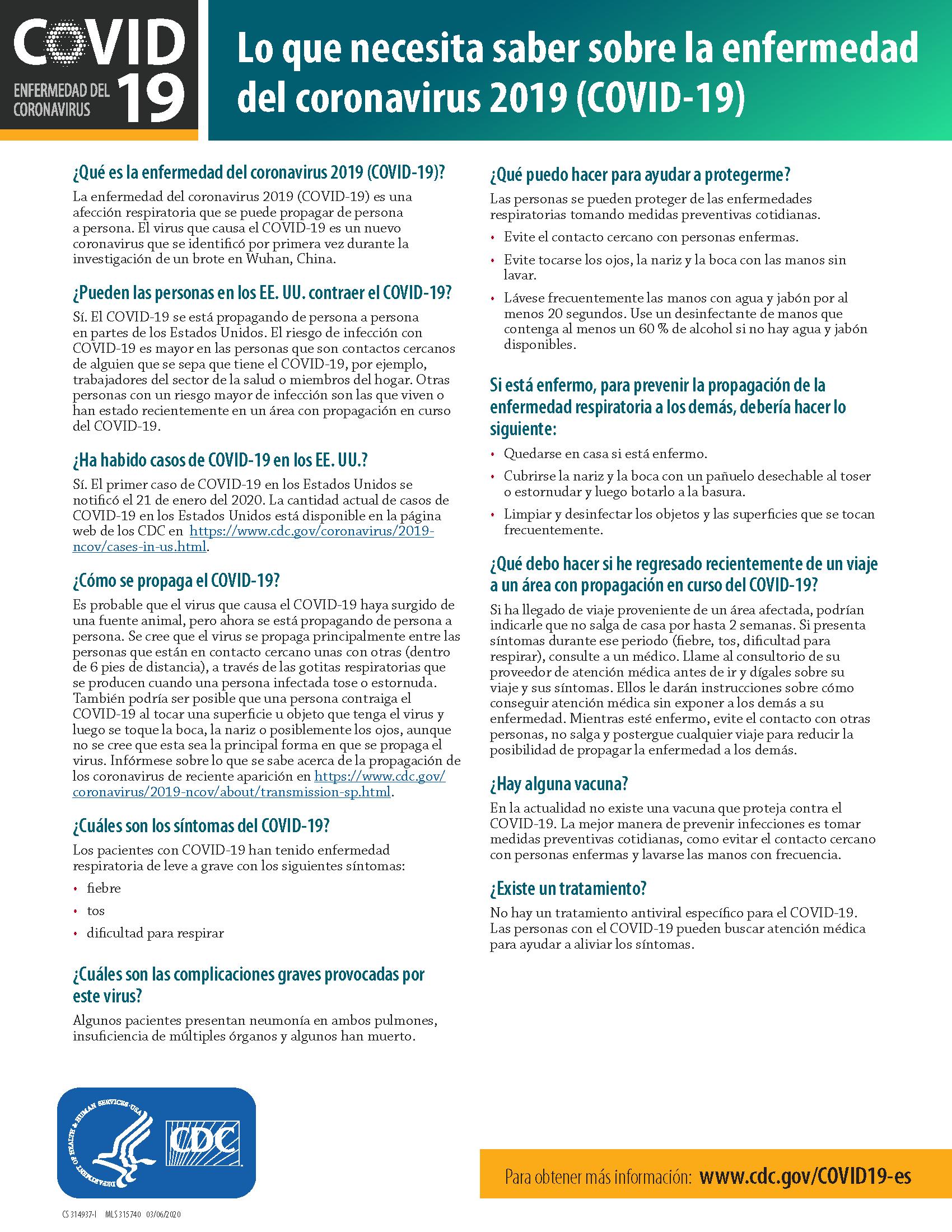 COVID factsheet spanish