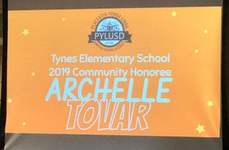 Archelle Tovar honoree service award winner
