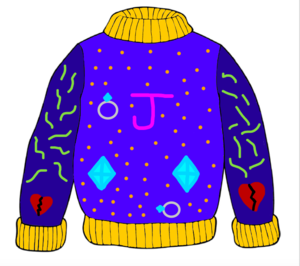 Blue sweater graphic design with