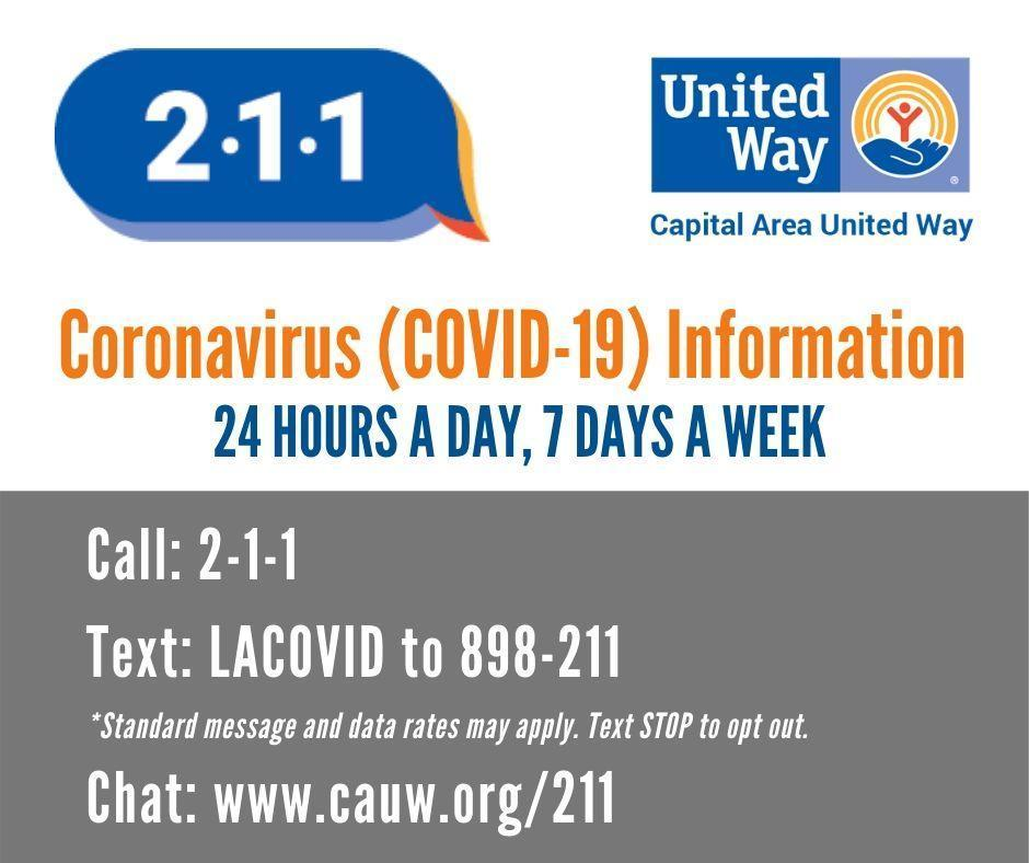 a graphic with the 211 Coronavirus Information Line info. 24 7 access