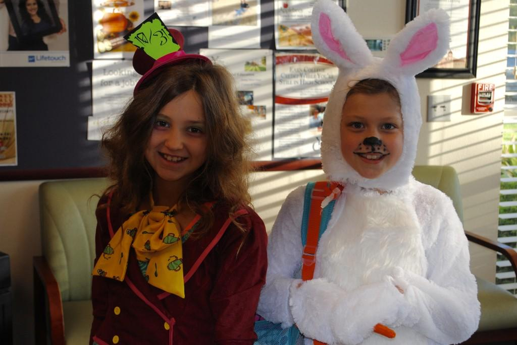 Students dressed up as mad hatter and white rabbit