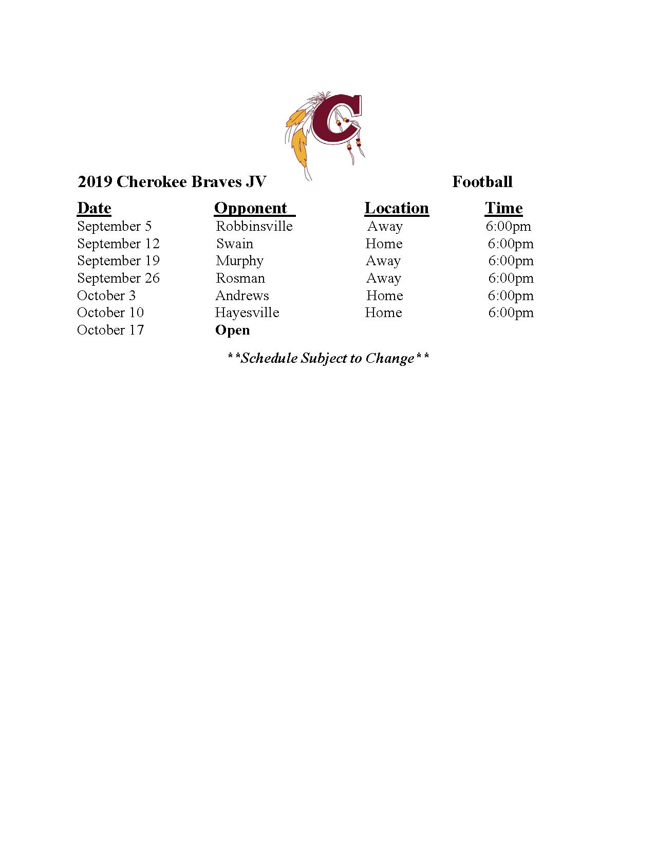 2019-2020 JV Football Schedule