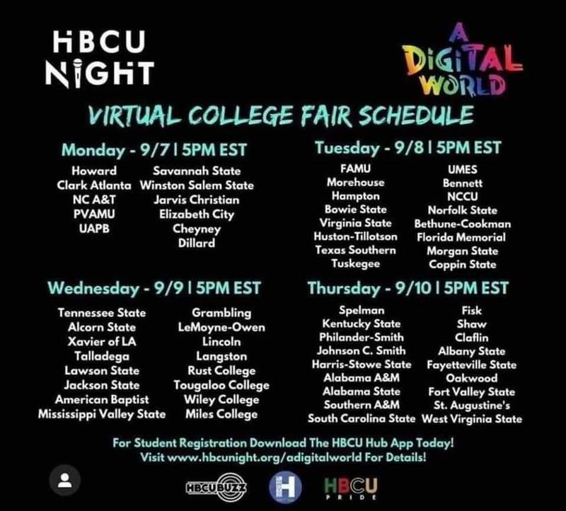 list of days and time for the virtual tours