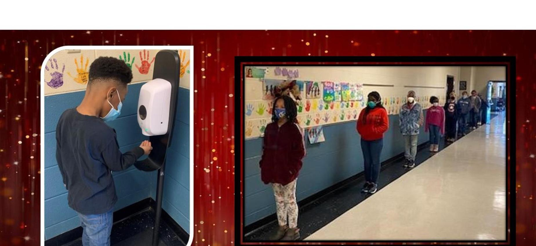 Germ-x station and 4th grade social distancing in line.