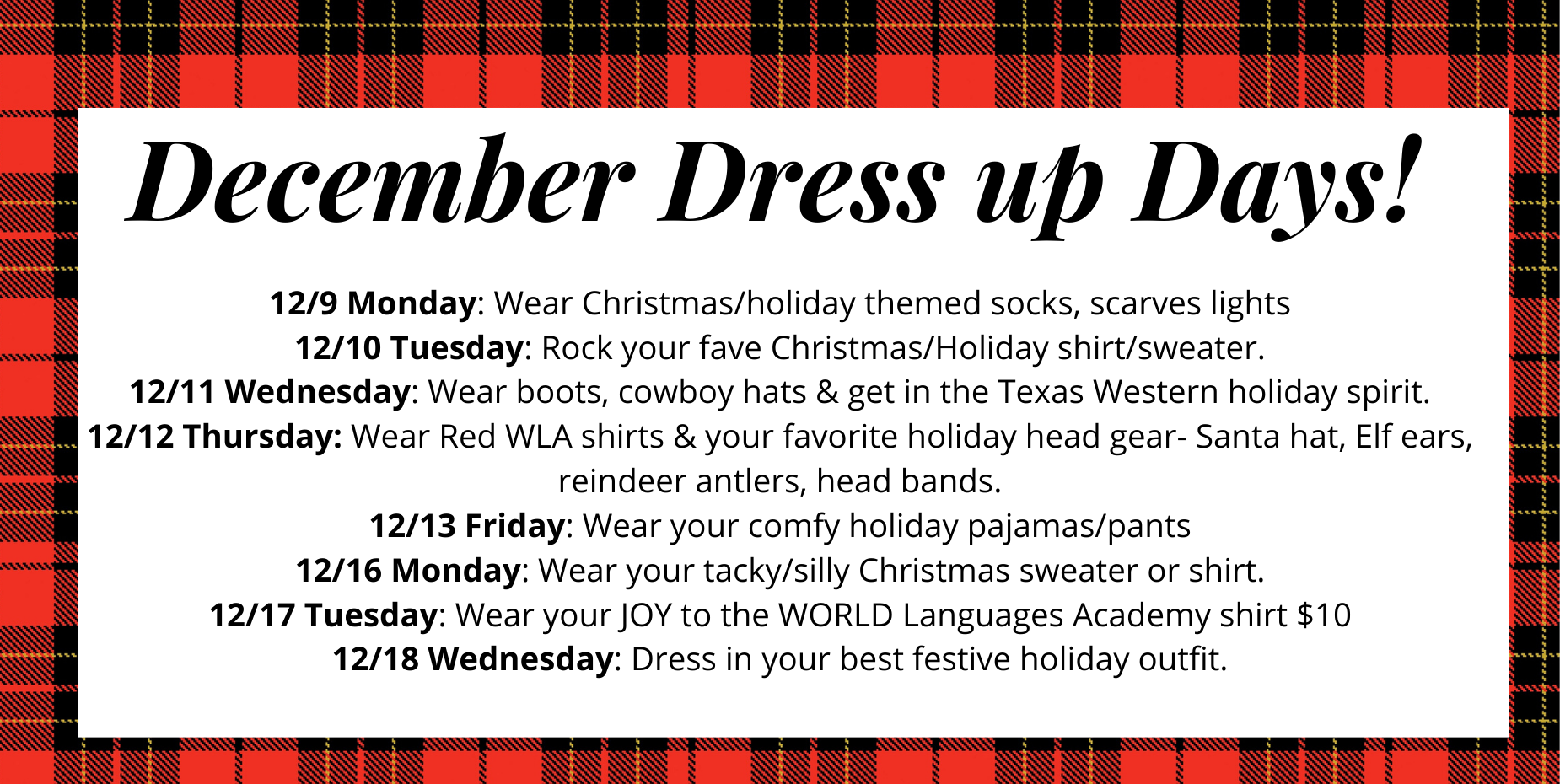 Image shows plaid background and details school dress up days.
