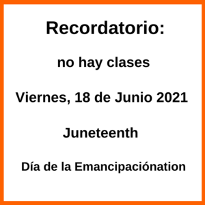 Graphic in Spanish about Juneteenth. All wording is also in the body of the post.