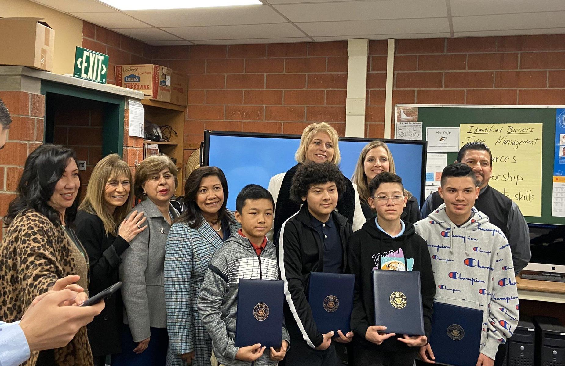 So proud of our Lorbeer students, under the leadership of Mr. Trejo, for winning the Congressional App Challenge! A heartfelt Thank You to U.S. Representative @NormaJTorres and her team for coming to personally celebrate our students! What an honor! #proud2bepusd