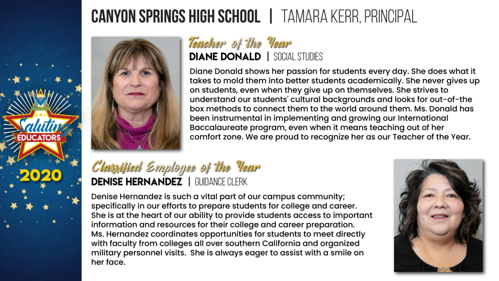 Canyon Springs High School Employees of the Year