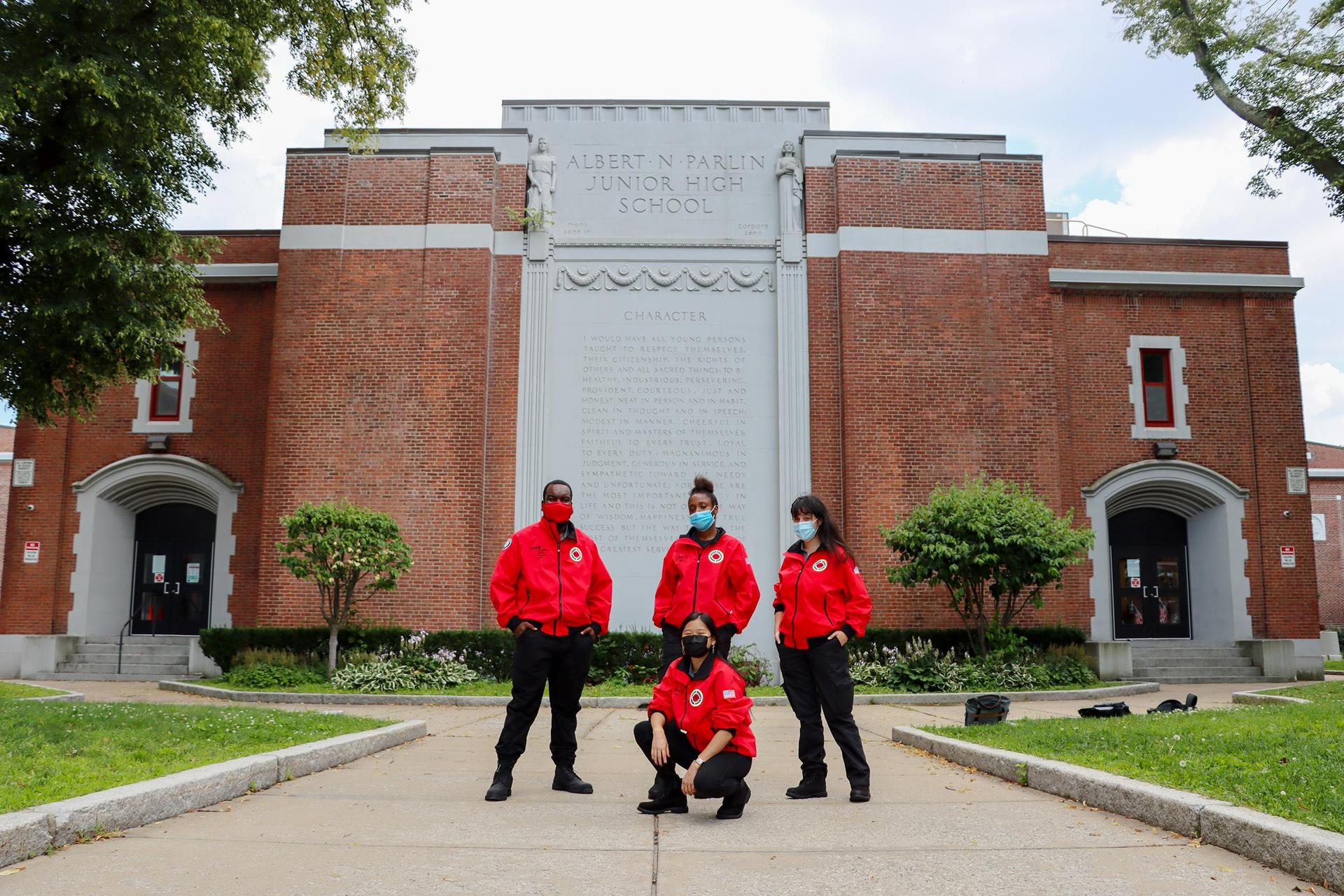City Year members outside the Parlin School