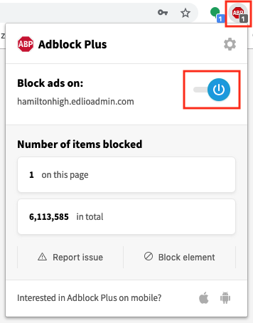 Turn off ad blocker