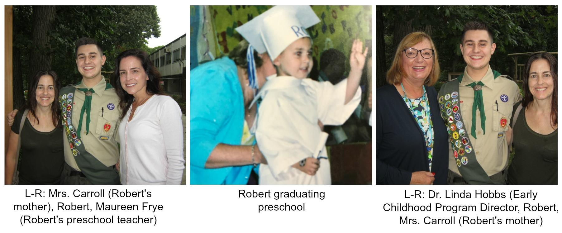 Collage of Robert, his mother, Director of EC, and Teacher