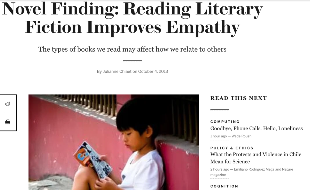 Reading Fiction improves Empathy
