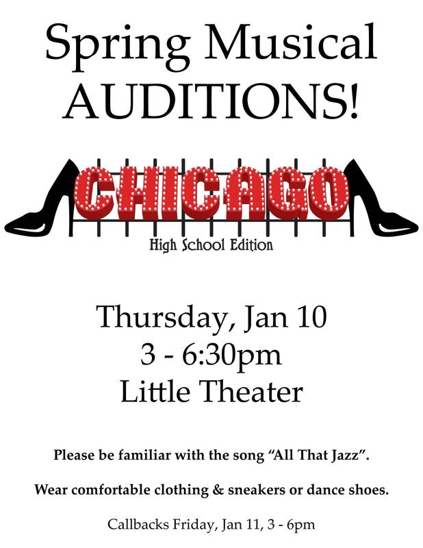 Poster for spring musical tryouts