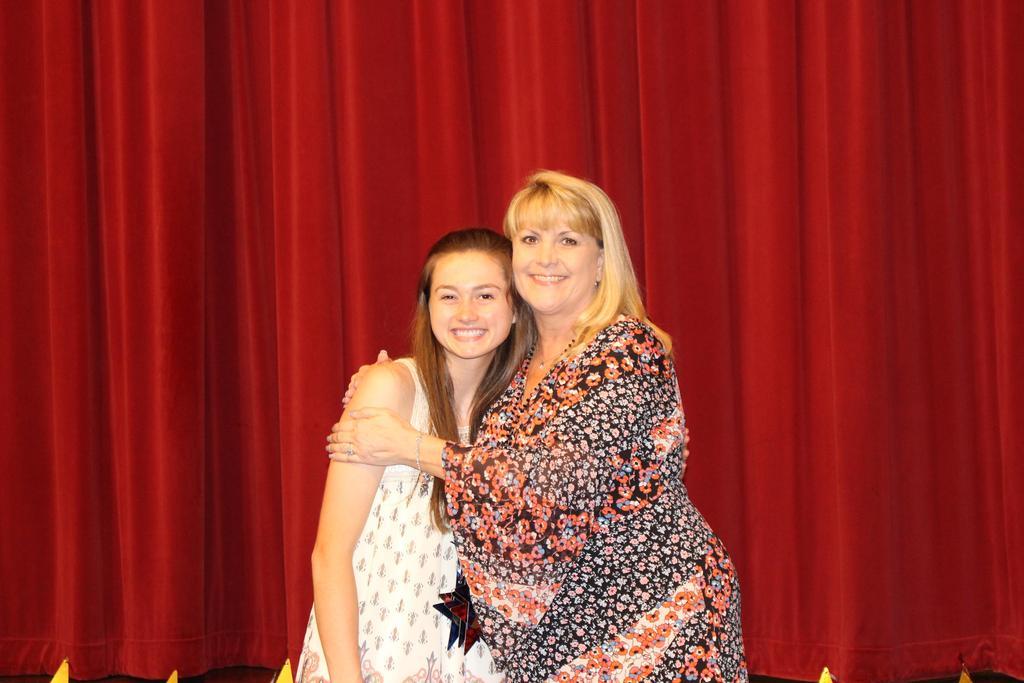 Becca's Closet Spirit of Generosity Rebecca Kirtman Memorial Scholarship $1,500 L-R Recipient Railie Calhoun with Michelle Warren, WHS Counselor