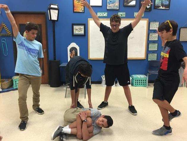 "High School Drama students create moving machines with their bodies for the ""stage movement"" lesson."