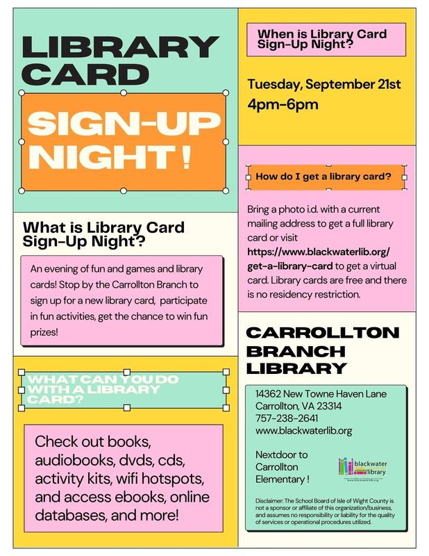 Library Card Sign Up Night Flyer