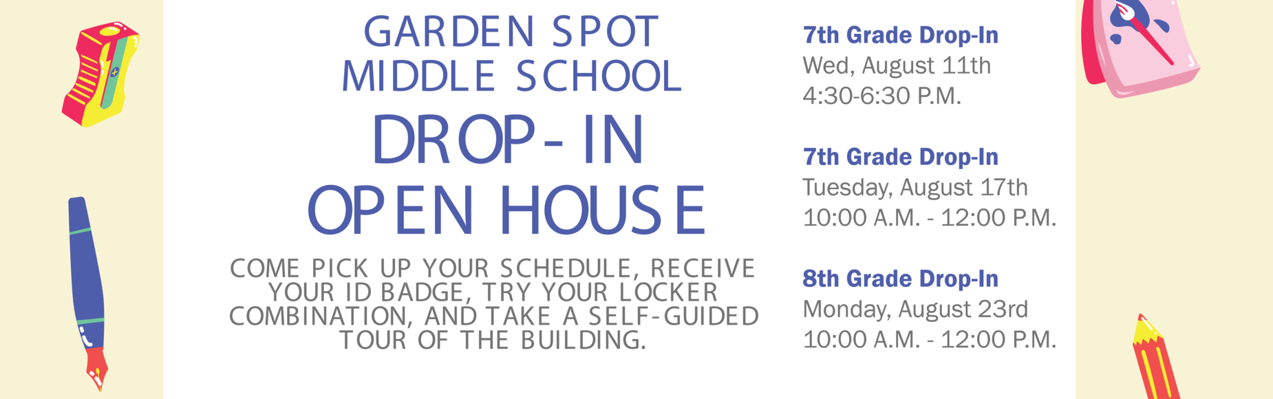 GS Middle School Open House Banner
