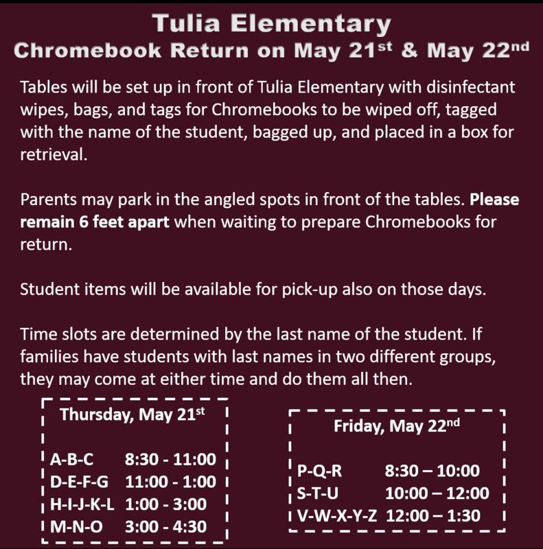 Tulia Elementary Chromebook Return Thumbnail Image