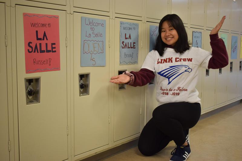 girl in front of lockers
