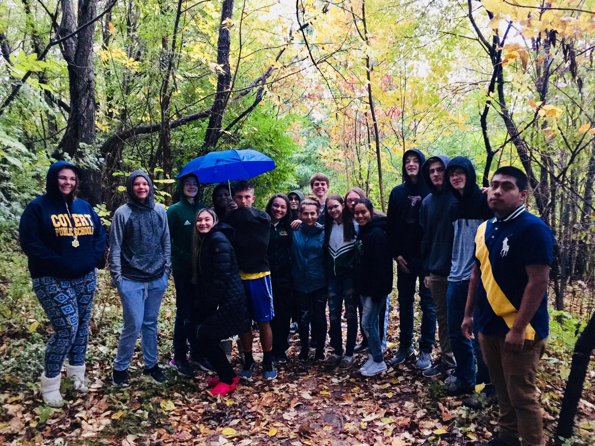 First hour students on a nature walk during our ecology unit