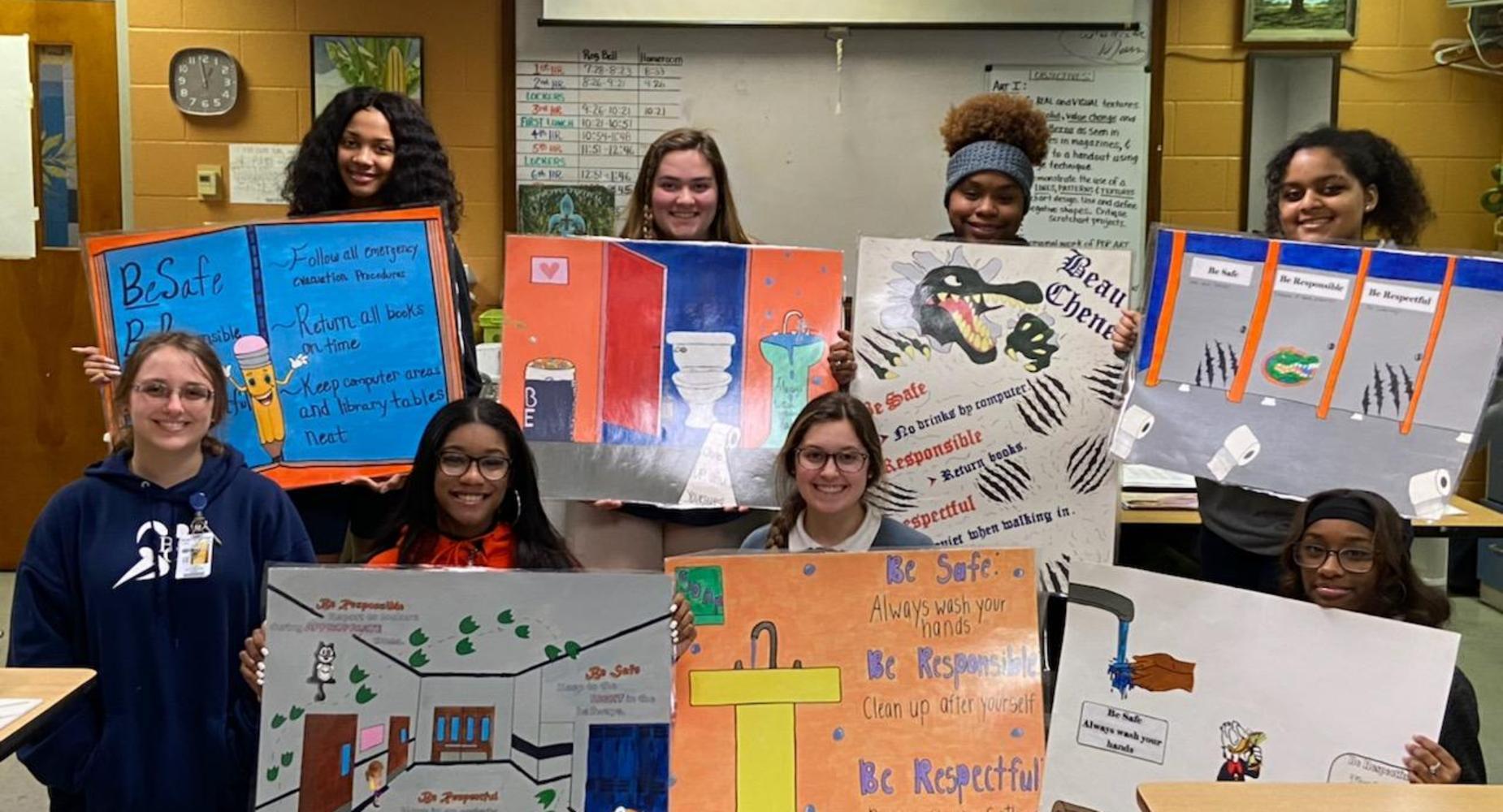 Mrs. Jennifer Knot's Art Students create PBIS posters.