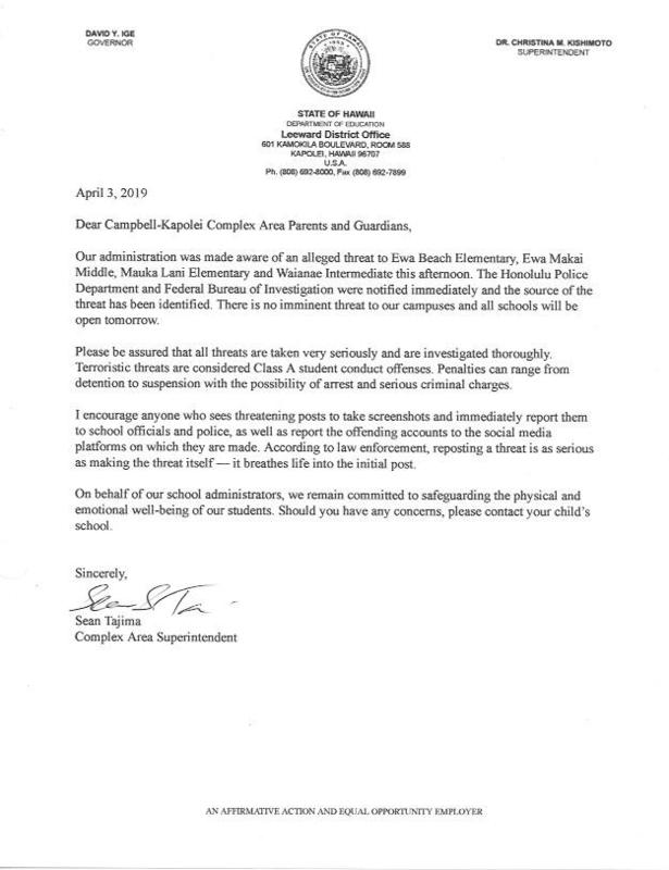**CLICK HERE TO READ LETTER From Superintendent Tajima Dated 4-3-2019** Thumbnail Image