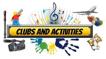 "Clip art with various clubs and activities shown with the words ""Clubs and Activities"""