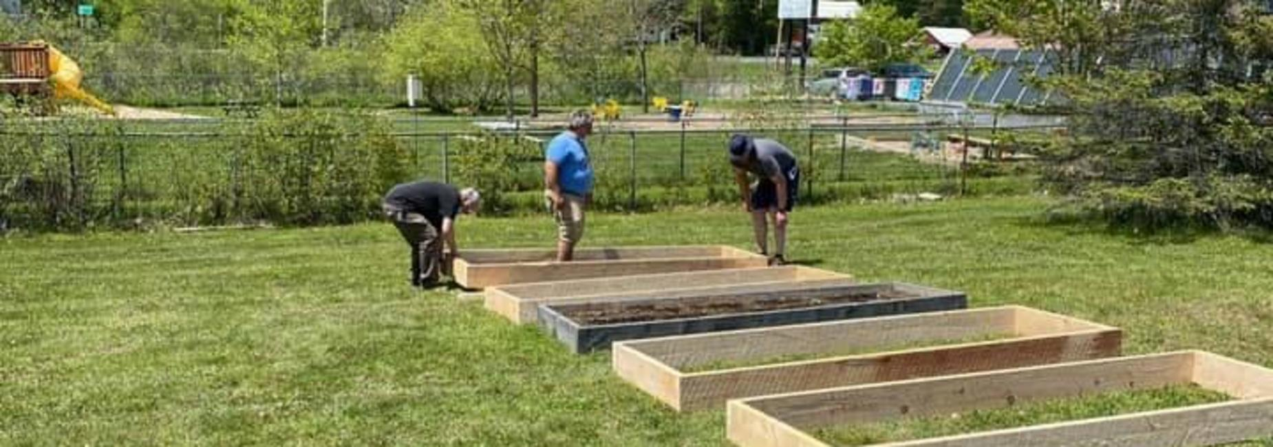 working on the raised garden beds