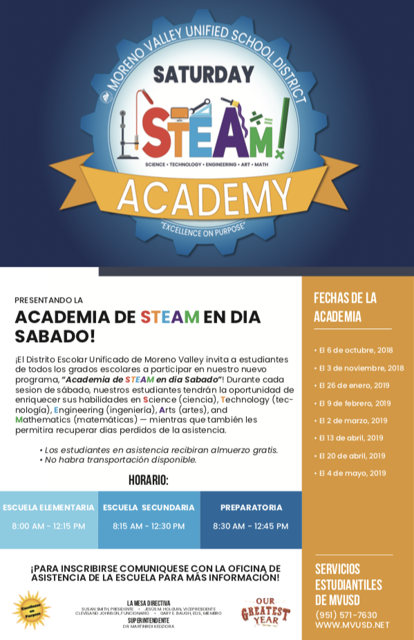 MVUSD Saturday STEAM Academy in Spanish