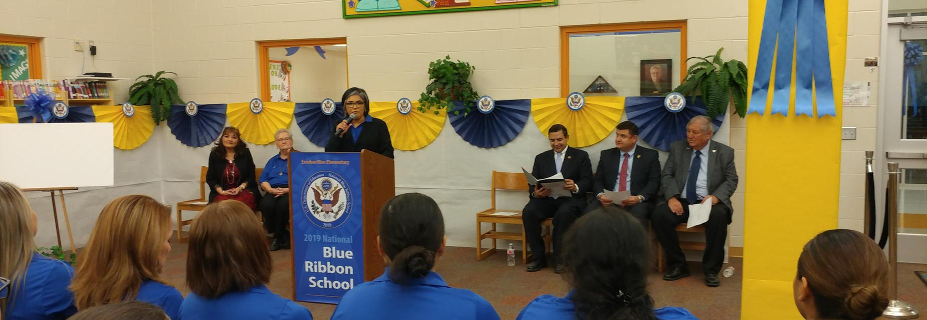 Mrs. Lopez giving a speech.