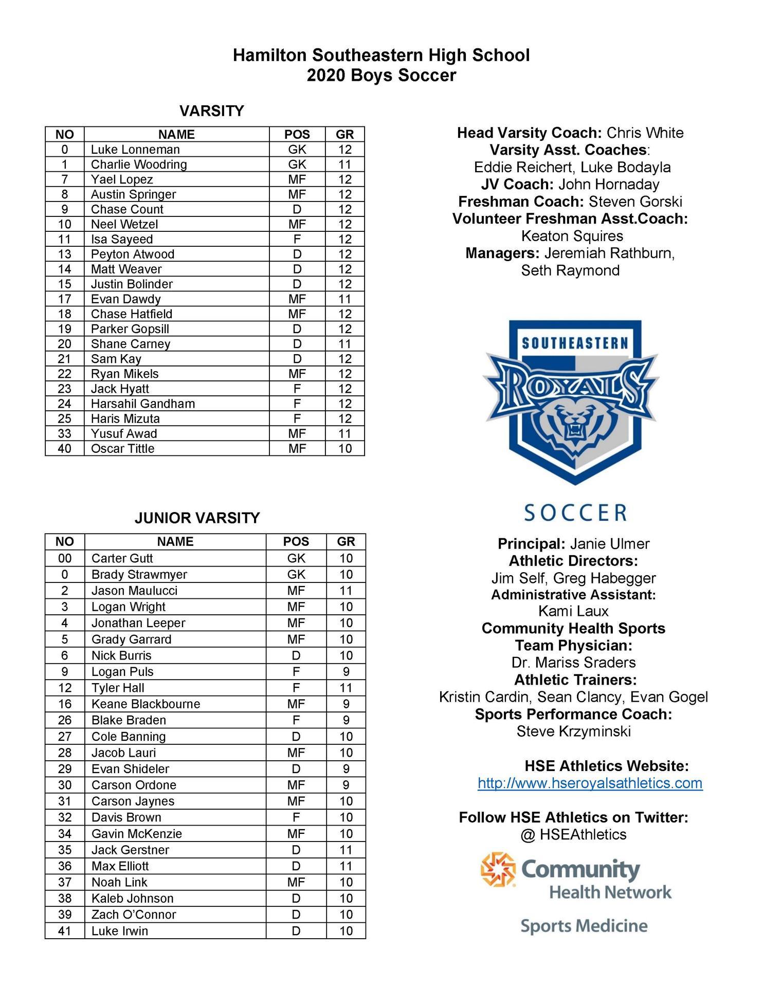 HSE Boys Soccer roster