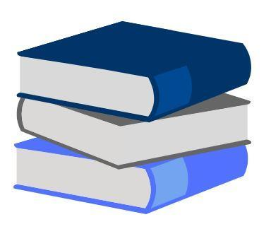 A stack of 3 books that are blue, grey, and navy blue.