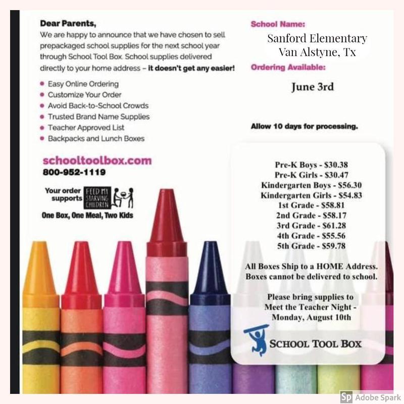 Sanford School Supply List Thumbnail Image