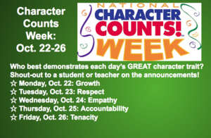 Character Counts Week is Oct. 22-26