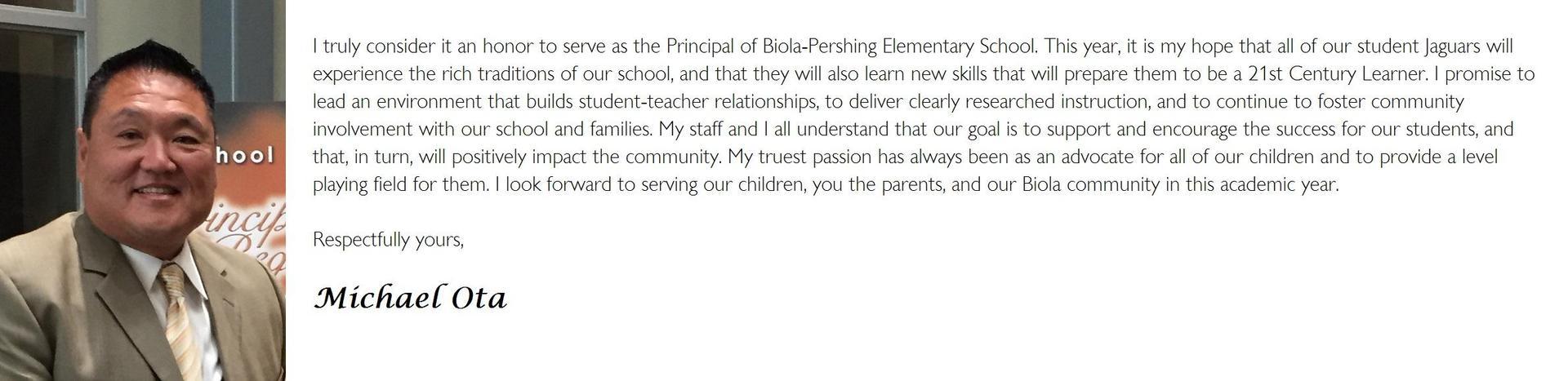 Mr. Ota's Principal Message