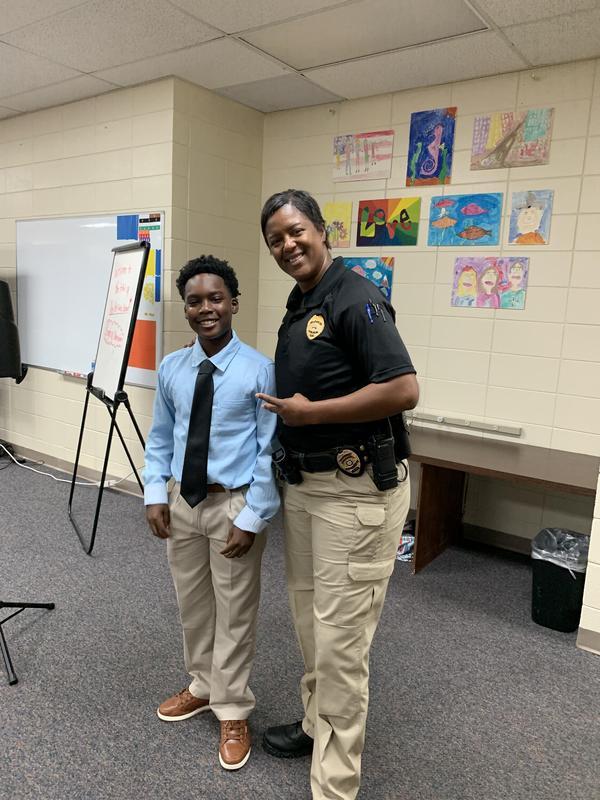 Sergeant Smith and guest Bailiff Andre Mason (8th grade)