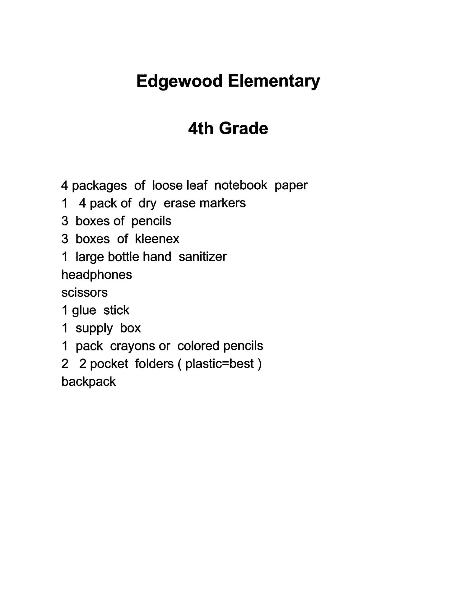 Edgewood 4th grade supply list 2019-2020