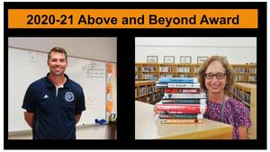 TKHS teacher Jeff Dock and TKHS Librarian Barb Hubers received this year's Above and Beyond Awards.