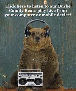 Picture of a bear with headphones and a radio.
