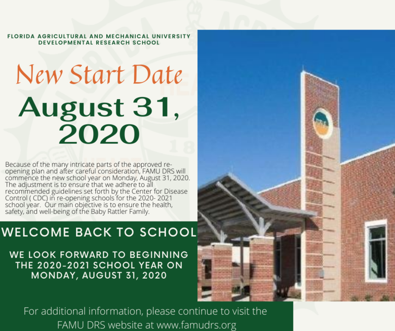 FAMU DRS New Start Date - August 31, 2020 Featured Photo