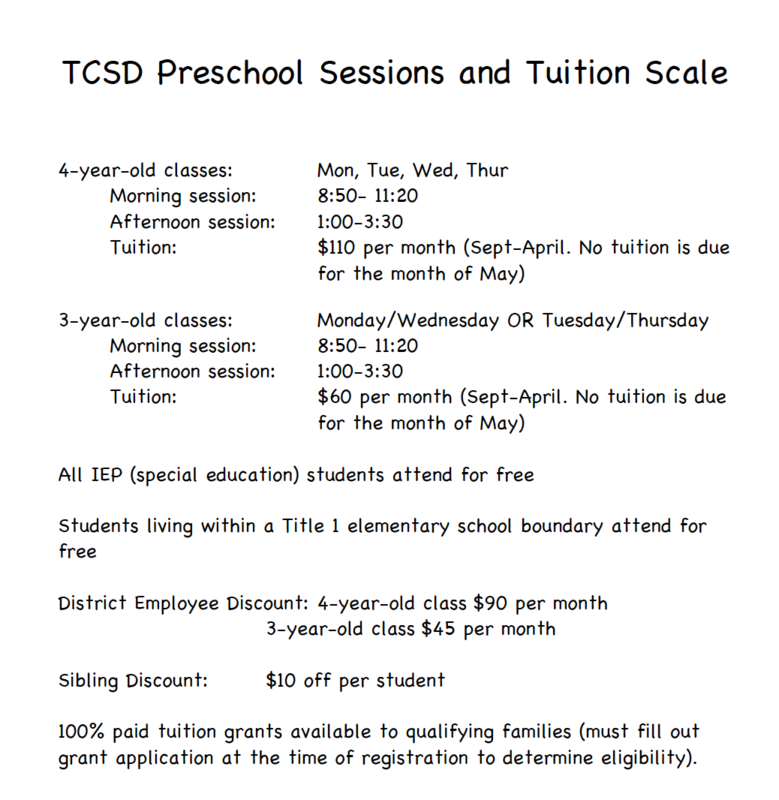 preschool tuition scale