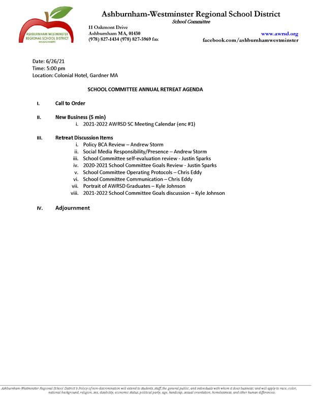 School Committee Retreat 6/26/2021 Featured Photo