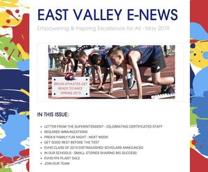 Picture of the top of the May e-news, featuring East Valley Central Bruin athletes.