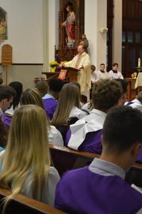Fr. Frank delivers the homily during the Class of 2018 Baccalaureate Mass