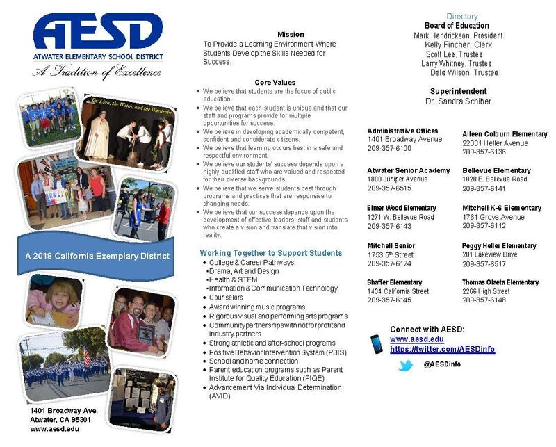 Exemplary district brochure