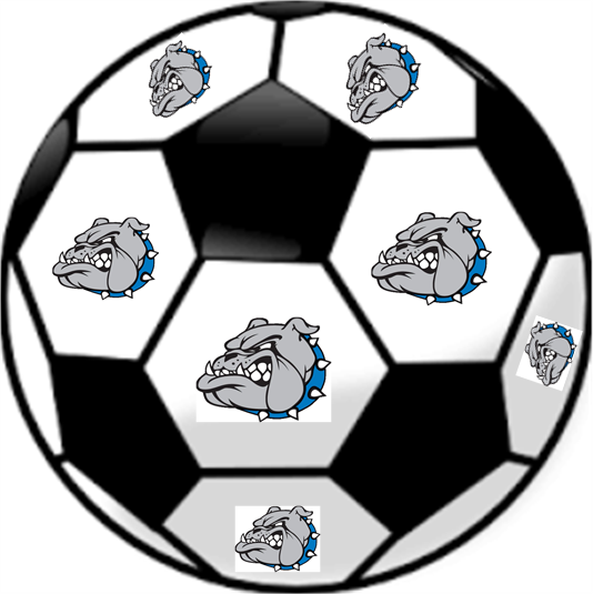 Soccer ball with bulldog logos on it