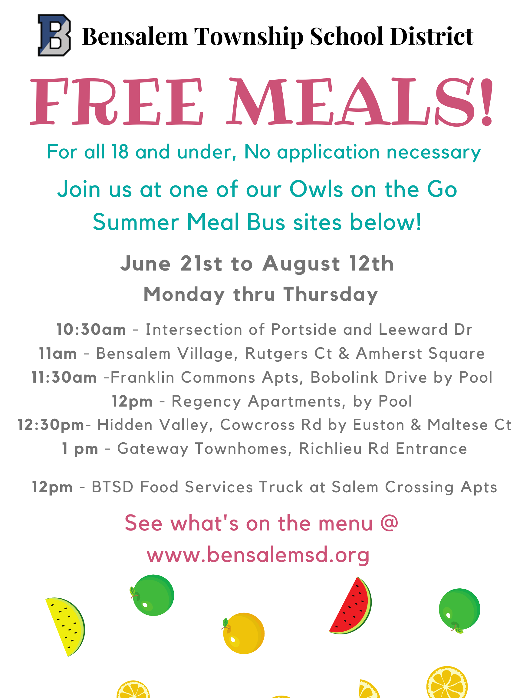 No cost meals from June 21 to AUgust 12 on the Owls on the Go Summer Meals Bus
