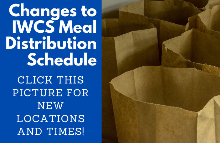 Changes to IWCS Meal Distribution Schedule: Click this picture for new locations and times! (row of paper bags)