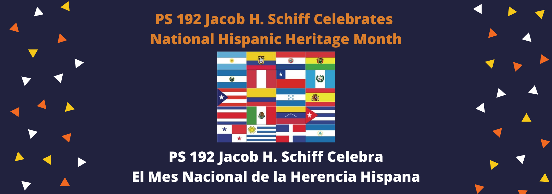 Hispanic Heritage Month Shuffle Bilingual in Blue with Flags